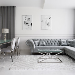 Luxurious and glamour living room interior