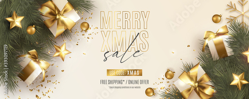 Fototapeta Xmas sale post design banner design Christmas sale post obraz