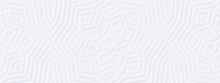 Abstract Geometric White Background. Meditation Music Design: Mandala Yoga Flower. Scandinavian Eco Minimal Style. Interior Accent Wall. DIY Wooden Decor - Wide 3d DIY Molded Panels Design. Mockup #6
