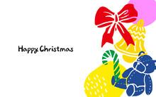 리본과 종, 곰인형, 지팡이가 있는 크리스마스 디자인