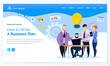 Composing business plan, ideas of workers in solution of business problems. Man with laptop dealing with task and problems of company, making up strategy. Website or webpage template, page vector