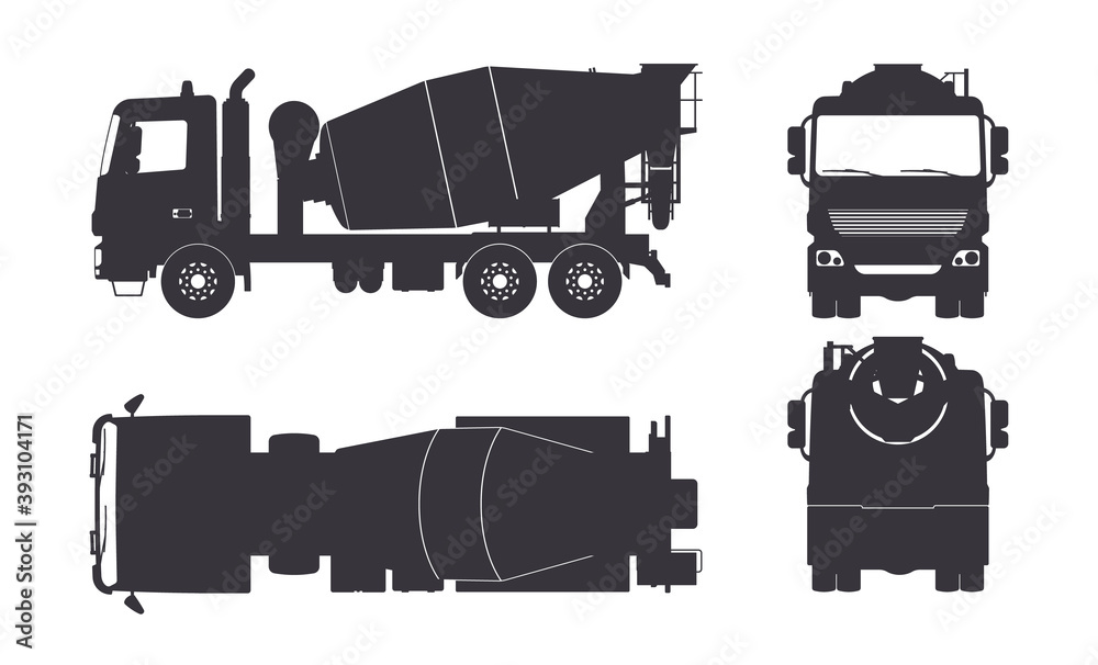 Fototapeta Black silhouette of concrete mixer truck. Side, top, front and back views. Isolated lorry blueprint. Industrial drawing. Construction vehicle for build