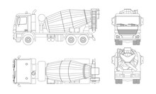 Outline Concrete Mixer Truck. Side, Top, Front And Back Views. Isolated Lorry Blueprint. Industrial Drawing. Construction Vehicle For Build