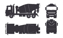 Black Silhouette Of Concrete Mixer Truck. Side, Top, Front And Back Views. Isolated Lorry Blueprint. Industrial Drawing. Construction Vehicle For Build