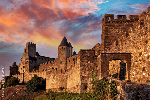 Medieval fortress of Carcassonne at sunset, France Wallpaper Mural