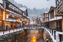 Obanazawa Ginzan Onsen, Japan In Winter