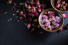 Cup Of Roses Tea With Rose Bud...