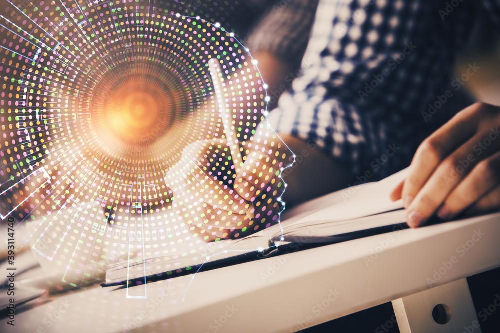 Fototapeta Man with multi exposure atificial intelligence brain icons.
