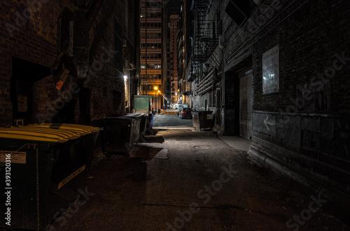 Fotografiet Dark alley at night downtown Chicago