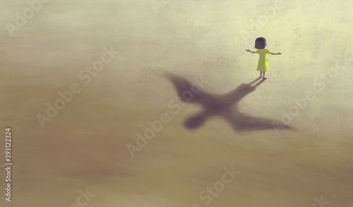 imagination artwork ,Girl with flying bird shadow , painting art, conceptual illustration, freedom ambition life and hope concept, surreal child dream