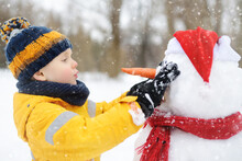 Little Boy Building Funny Snow...