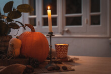 Halloween Pumpkin With Candle ...