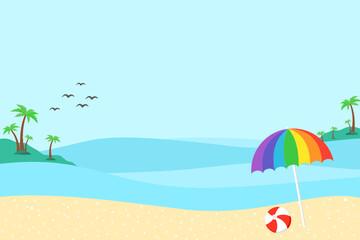 Fototapeta na wymiar Vector cartoon style Sandy beach. Sea. Ocean surf