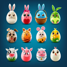 Set Of Animals Easter Eggs