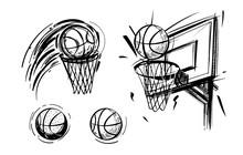 Set Of Basketball Sketch. Basketball Emblem, Ball, Basket, Sketch Vector Illustration