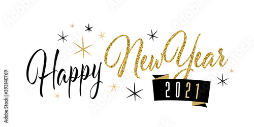 Obraz Happy new year 2021 with gold sequins - fototapety do salonu