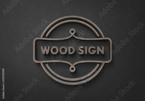 Elegant 3D Wood Sign Logo Mockup