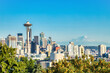 Seattle Cityscape with Mt. Rainier in the Background during a Sunny Day, Washington