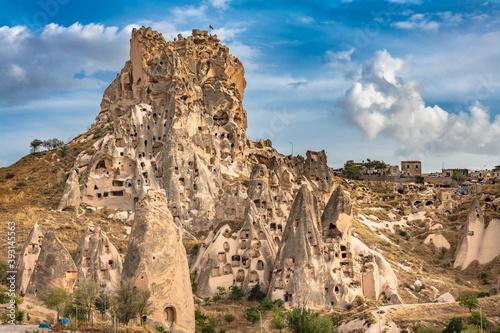 Uchisar natural rock castle and town, Cappadocia, Central Anatolia, Turkey