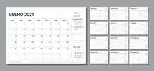 2021 Spanish Planner. Calendar Template. Vector. Week Starts Monday. Table Schedule Grid. Calender Layout With 12 Month. Yearly Stationery Organizer. Horizontal Monthly Diary. Simple Illustration