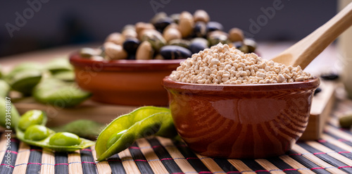 Fotografia, Obraz Soybean pods edamame soybeans with granulated soy lecithin and black and white s