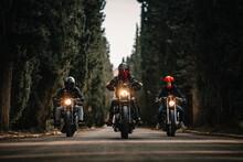 Group Of Bikers In Black Leath...