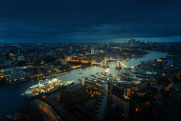 Panel Szklany Boks London aerial view with Tower Bridge, UK