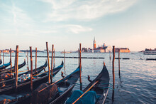 Gondolas On Grand Canal And Sa...
