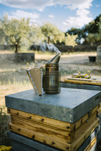 Metal Bee Smoker Placed On Wooden Hive In Apiary On Sunny Day In Countryside