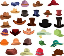 Big Set Of Different Cartoon Colored Mans And Womans Hats