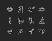 Kitchen Tools Chalk White Icons Set On Black Background. Cooking And Serving Meal. Home Culinary. Food Preparation. Household Utensils. Recipe Ingredients. Isolated Vector Chalkboard Illustrations