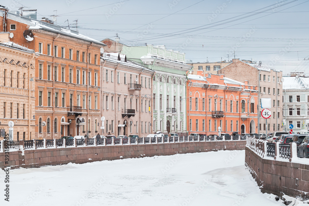 Fototapeta Moyka River view at winter day. St.Petersburg in wnter