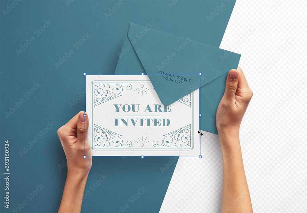 Fototapeta Mockup of Hands Holding Card with Envelope