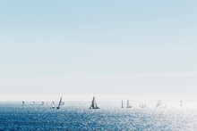 Sailboats Sailing In Pacific O...