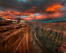 Scenic View Of Toroweap Overlook And Colorado River During Sunset In Grand Canyon National Park