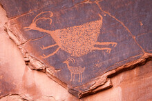 Close Up Of Petroglyph On Rock