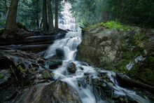 Scenic View Of Bridal Veil Falls Flowing Through Forest