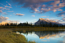 Scenic View Of Mount Rundle With Vermilion Lake In Foreground In Banff National Park