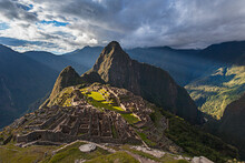 High Angle View Of Ancient City Of Machu Picchu