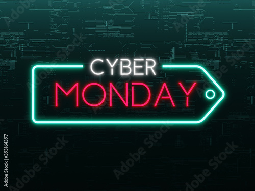 Cyber Monday arrow neon sign on futuristic concept dark green metallic background