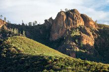 Scenic View Of Conglomerate Rock Formation And Rolling Hills In Pinnacles National Park