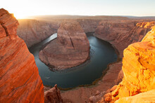 High Angle View Of Horseshoe Bend And Colorado River