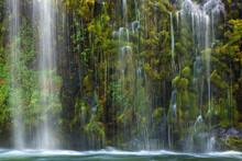 Waterfall Cascades Down Moss Laden Cliffs Into Sacramento River