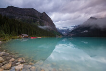 Scenic View Of Lake Louise In Banff National Park