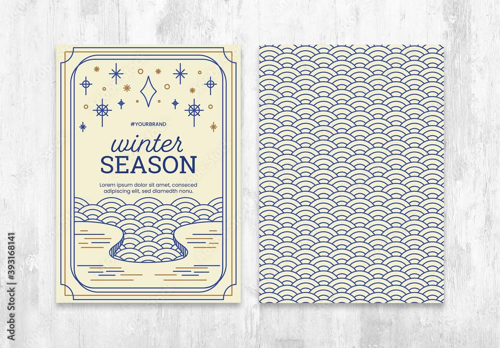 Fototapeta Winter Season Flyer Postcard Layout with Circular Pattern