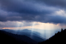 Scenic View Of Sunbeam Reaching Oconaluftee Valley In Great Smoky Mountains During Sunrise