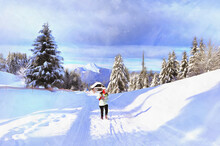Mountain Winter View Colorful Painting Looks Like Picture