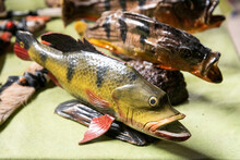 Typical Wooden Fish Amazon Handcraft Art On Local Store In Negro River