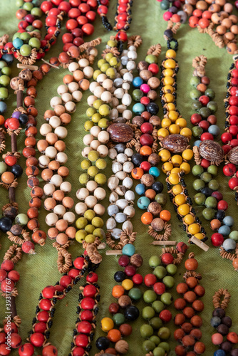 Typical and colorful Amazon handcrafted necklaces made with local seed Fotobehang