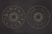 Zodiac Wheels Set. Circles With Zodiac Signs As Girls, Glyphs, Constellations. Astrological Concept In Outline Style Isolated On Black Gradient. Vintage Vector Illustration For Logo, Print, Tattoo